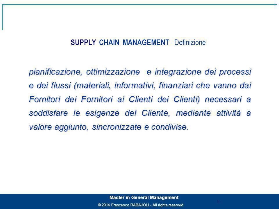 © 2014 Francesco RABAJOLI - All rights reserved Master in General Management SUPPLY CHAIN MANAGEMENT - Definizione pianificazione, ottimizzazione e in
