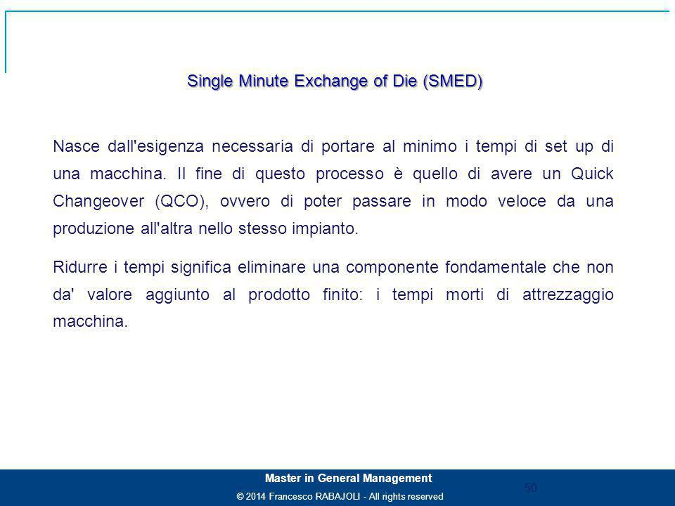© 2014 Francesco RABAJOLI - All rights reserved Master in General Management Single Minute Exchange of Die (SMED) Nasce dall'esigenza necessaria di po