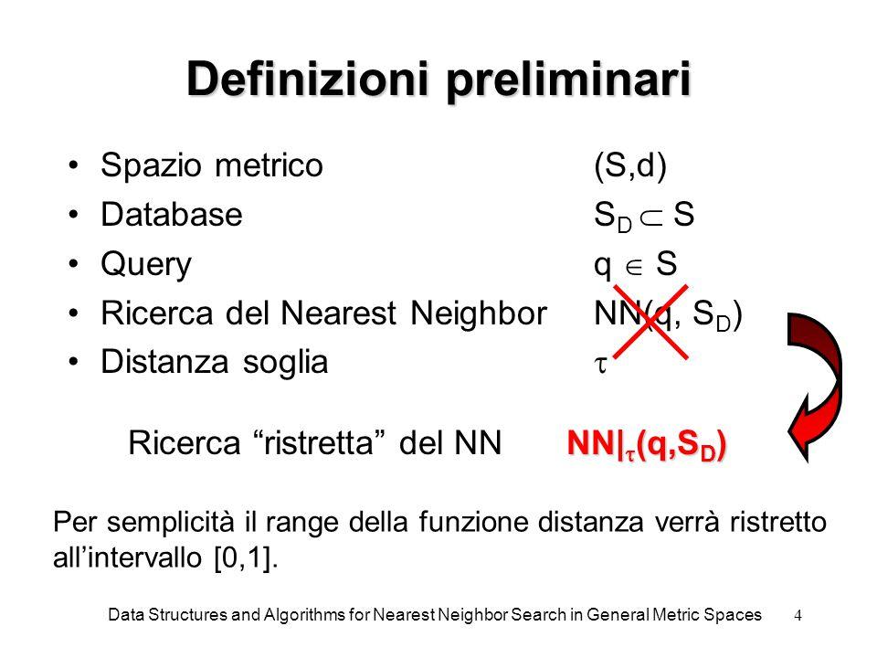 15 Algoritmo di ricerca Ricerca il NN in VP-Tree in cui ogni nodo contiene bounds dei sottospazi figli  tiene traccia della distanza del NN già incontrato Il confronto con il valore middle determina l'ordine di esplorazione I L è l'intervallo compreso tra n .left_bnd[low]-  e n .left_bnd[high]+  Analogamente è definito I R Ha complessità O(log(n)) Data Structures and Algorithms for Nearest Neighbor Search in General Metric Spaces Procedure Search(n) if n = 0 then return; x := d(q,n .id); if x < tau then tau := x; best := n .id; middle := (n .left_bnd[high] + n .right_bnd[low]) / 2; if x < middle then if x  I L then Search(n .left); if x  I R then Search(n .right); else if x  I R then Search(n .right); if x  I L then Search(n .left);