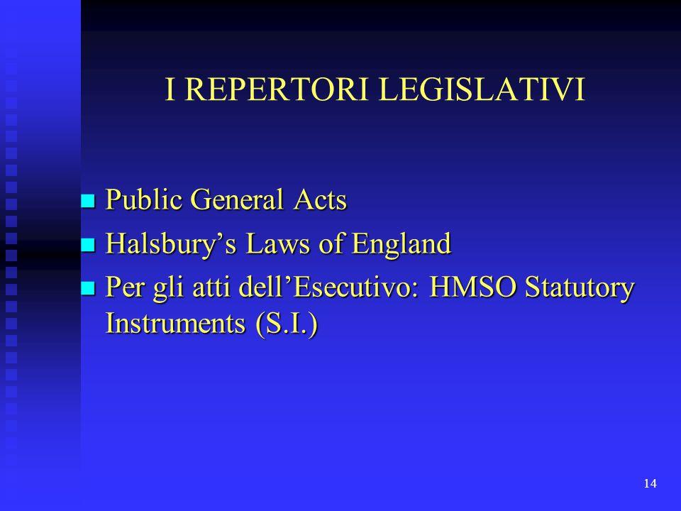 14 I REPERTORI LEGISLATIVI n Public General Acts n Halsbury's Laws of England n Per gli atti dell'Esecutivo: HMSO Statutory Instruments (S.I.)