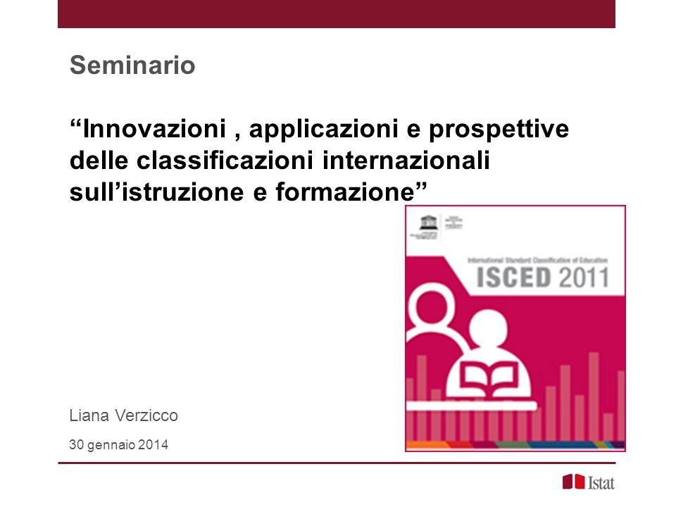 """Seminario """"Innovazioni, applicazioni e prospettive delle classificazioni internazionali sull'istruzione e formazione"""" Liana Verzicco 30 gennaio 2014"""