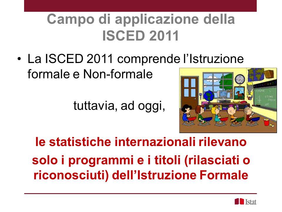 Campo di applicazione della ISCED 2011 La ISCED 2011 comprende l'Istruzione formale e Non-formale tuttavia, ad oggi, le statistiche internazionali ril