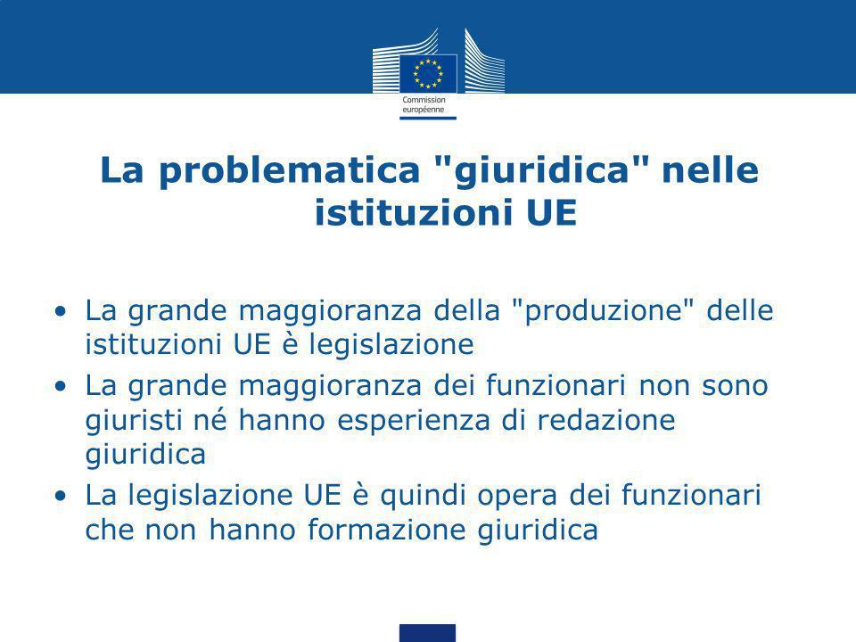 La problematica giuridica nelle istituzioni UE La grande maggioranza della produzione delle istituzioni UE è legislazione La grande maggioranza dei funzionari non sono giuristi né hanno esperienza di redazione giuridica La legislazione UE è quindi opera dei funzionari che non hanno formazione giuridica