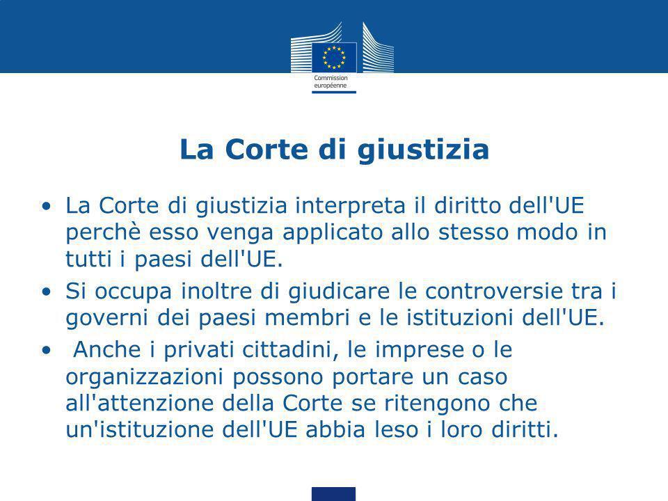 La Corte di giustizia La Corte di giustizia interpreta il diritto dell UE perchè esso venga applicato allo stesso modo in tutti i paesi dell UE.