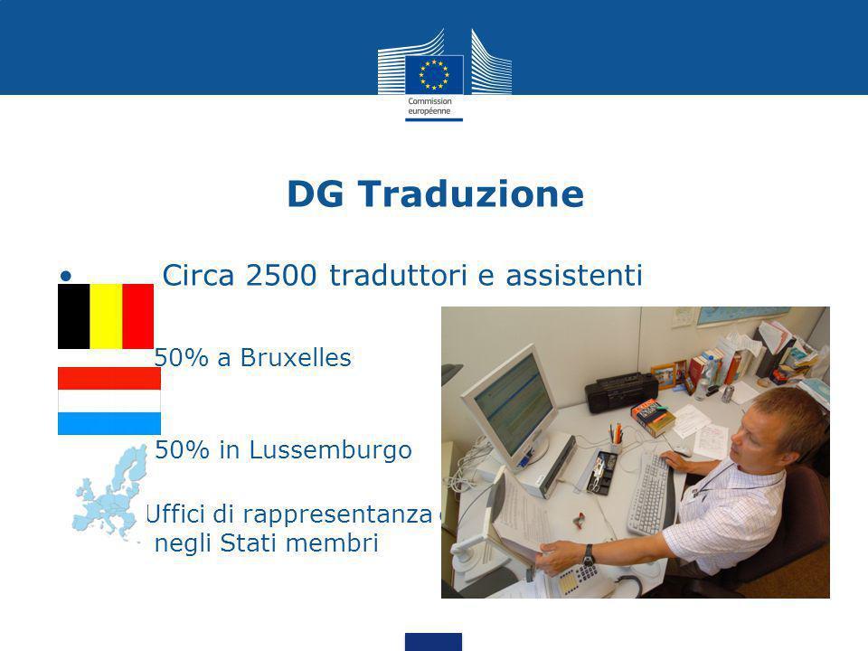 DG Traduzione Circa 2500 traduttori e assistenti 50% a Bruxelles 50% in Lussemburgo Uffici di rappresentanza es negli Stati membri