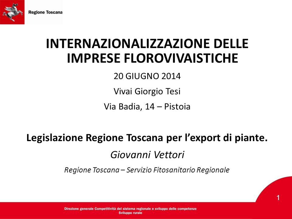 INTERNAZIONALIZZAZIONE DELLE IMPRESE FLOROVIVAISTICHE 20 GIUGNO 2014 Vivai Giorgio Tesi Via Badia, 14 – Pistoia Legislazione Regione Toscana per l'exp
