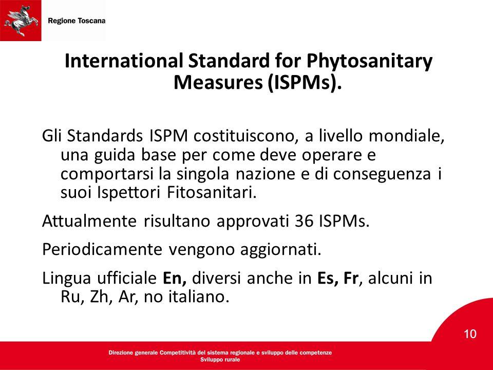 International Standard for Phytosanitary Measures (ISPMs). Gli Standards ISPM costituiscono, a livello mondiale, una guida base per come deve operare