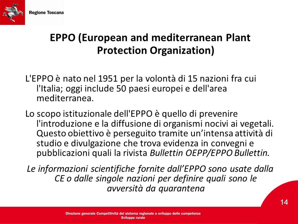 EPPO (European and mediterranean Plant Protection Organization) L'EPPO è nato nel 1951 per la volontà di 15 nazioni fra cui l'Italia; oggi include 50