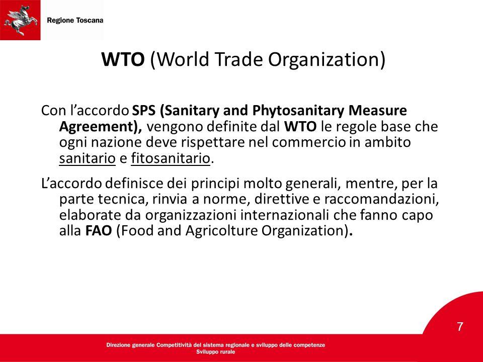 WTO (World Trade Organization) Con l'accordo SPS (Sanitary and Phytosanitary Measure Agreement), vengono definite dal WTO le regole base che ogni nazi