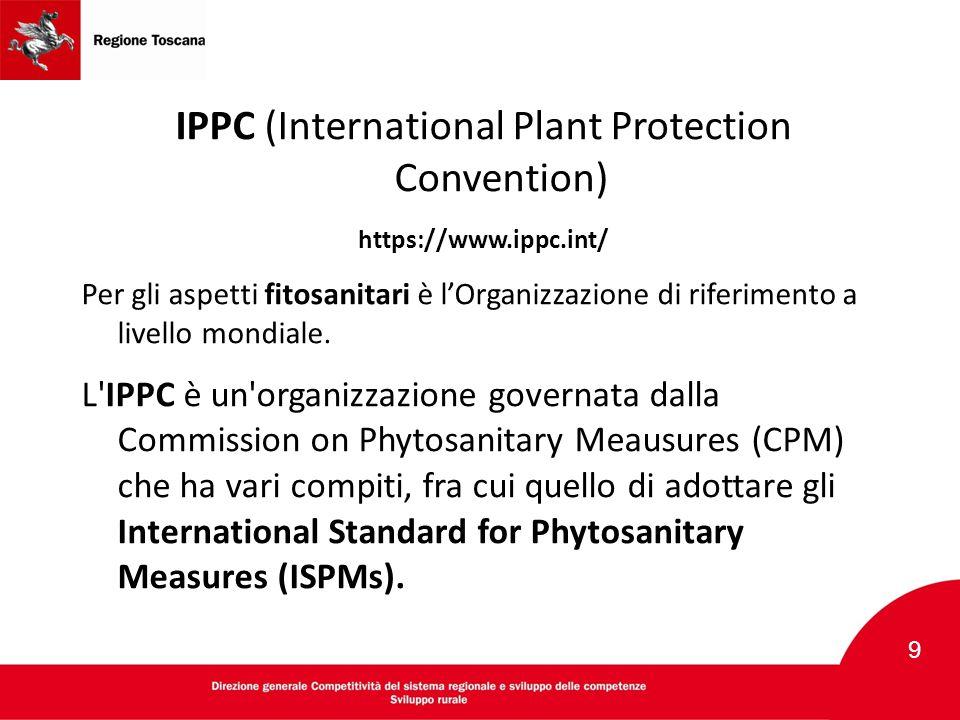 IPPC (International Plant Protection Convention) https://www.ippc.int/ Per gli aspetti fitosanitari è l'Organizzazione di riferimento a livello mondia