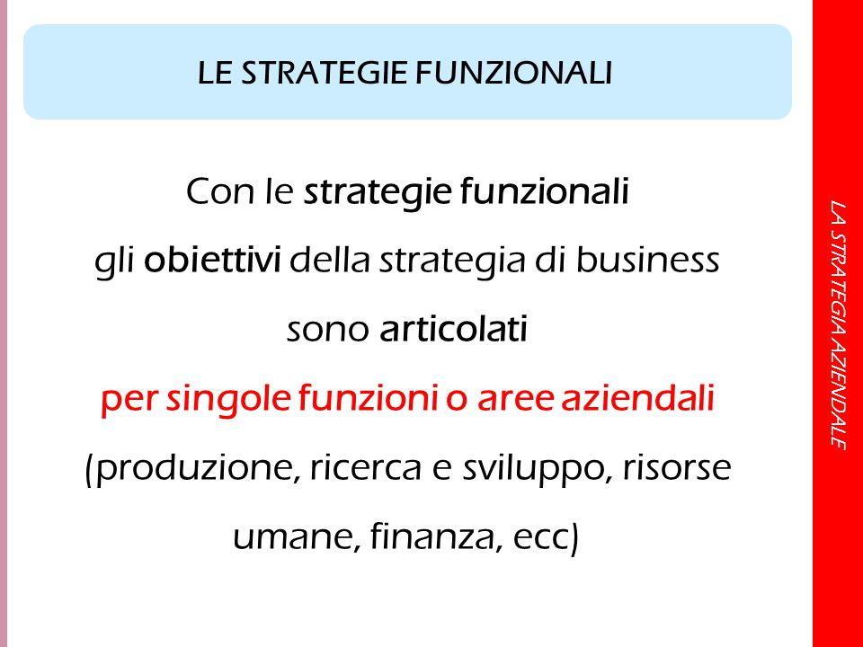 LA STRATEGIA AZIENDALE Con le strategie funzionali gli obiettivi della strategia di business sono articolati per singole funzioni o aree aziendali (pr