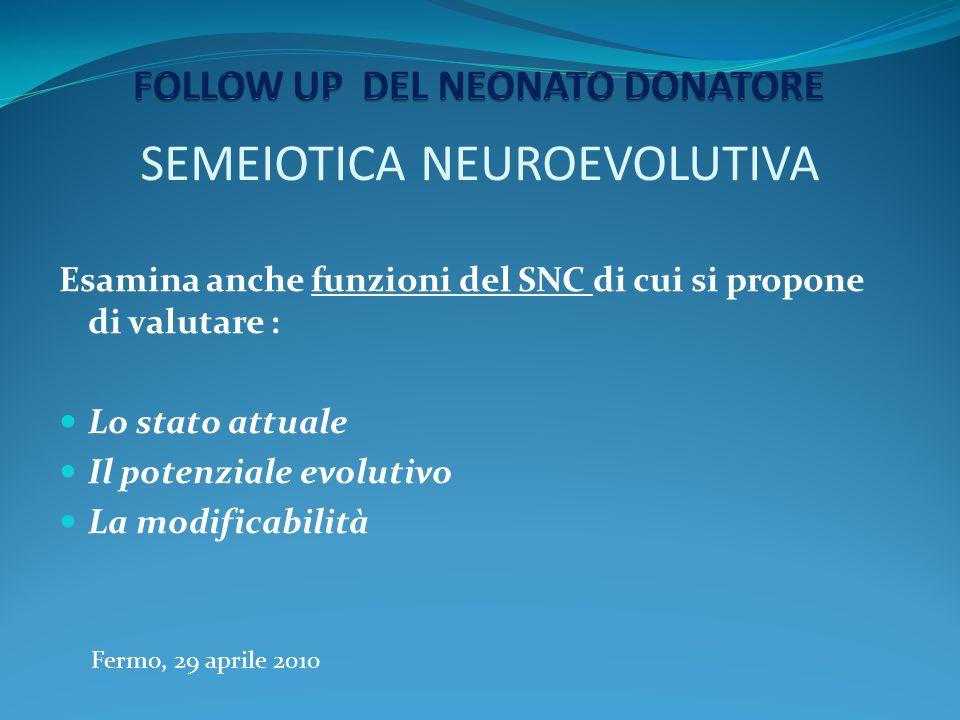 SEMEIOTICA NEUROEVOLUTIVA Esamina anche funzioni del SNC di cui si propone di valutare : Lo stato attuale Il potenziale evolutivo La modificabilità Fe