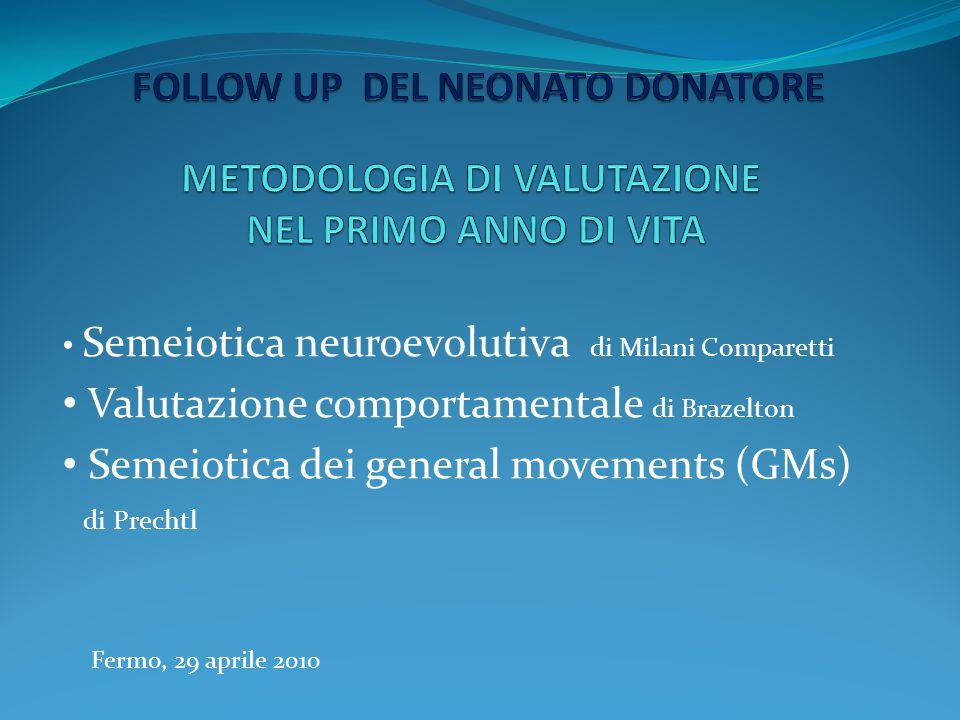 Semeiotica neuroevolutiva di Milani Comparetti Valutazione comportamentale di Brazelton Semeiotica dei general movements (GMs) di Prechtl