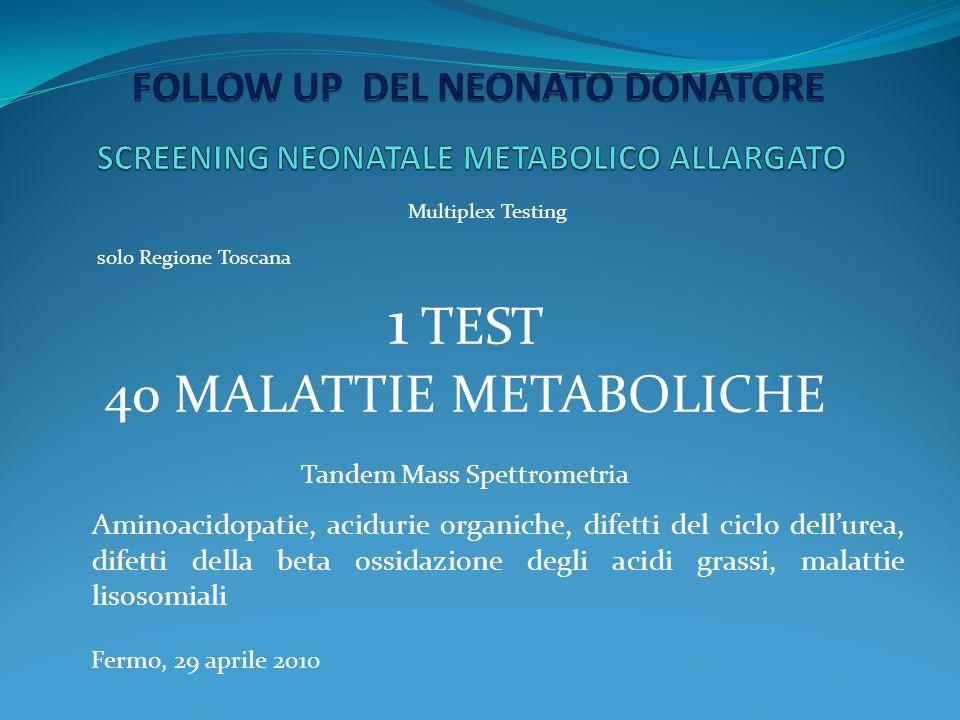 Fermo, 29 aprile 2010 solo Regione Toscana 1 TEST 40 MALATTIE METABOLICHE Tandem Mass Spettrometria Aminoacidopatie, acidurie organiche, difetti del c