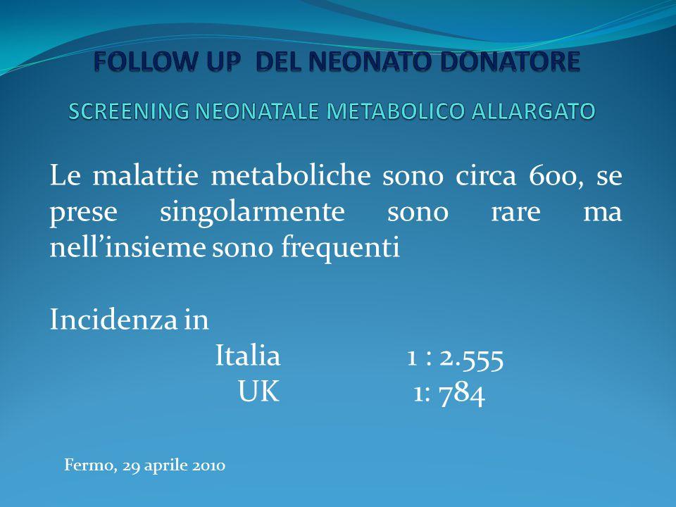Fermo, 29 aprile 2010 Le malattie metaboliche sono circa 600, se prese singolarmente sono rare ma nell'insieme sono frequenti Incidenza in Italia 1 :