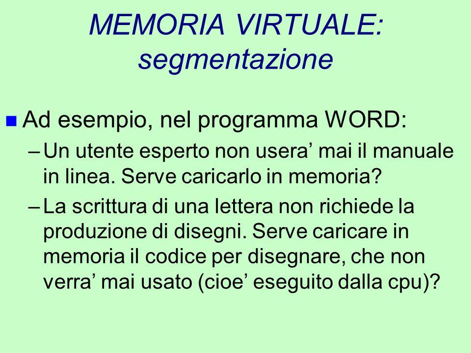 MEMORIA VIRTUALE: segmentazione n Ad esempio, nel programma WORD: –Un utente esperto non usera' mai il manuale in linea. Serve caricarlo in memoria? –