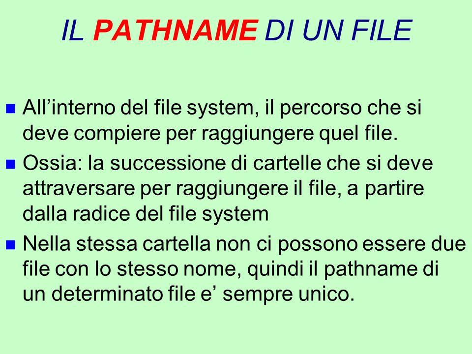 IL PATHNAME DI UN FILE n All'interno del file system, il percorso che si deve compiere per raggiungere quel file. n Ossia: la successione di cartelle