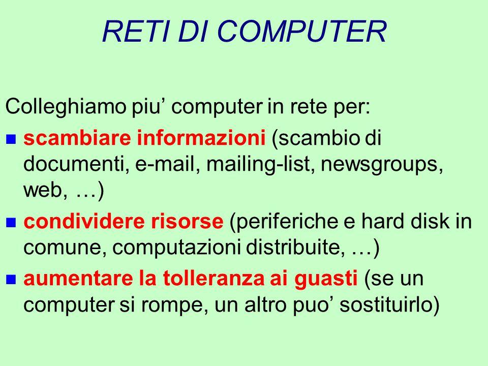 Colleghiamo piu' computer in rete per: n scambiare informazioni (scambio di documenti, e-mail, mailing-list, newsgroups, web, …) n condividere risorse