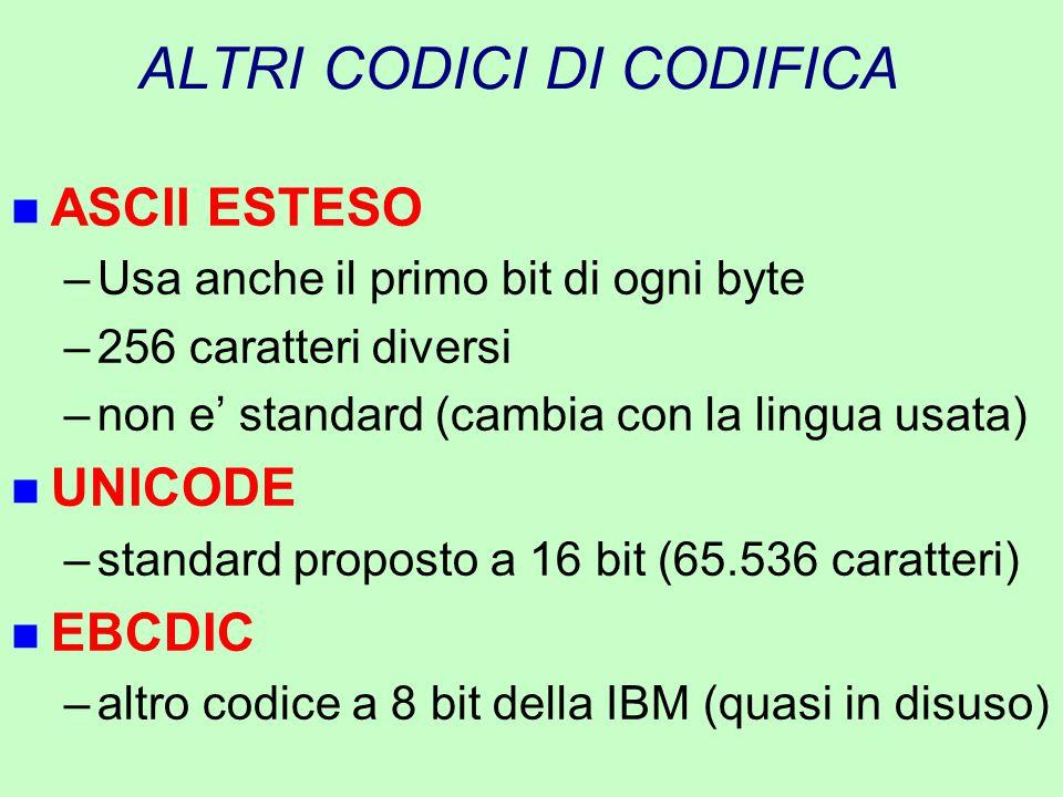 ALTRI CODICI DI CODIFICA n ASCII ESTESO –Usa anche il primo bit di ogni byte –256 caratteri diversi –non e' standard (cambia con la lingua usata) n UN