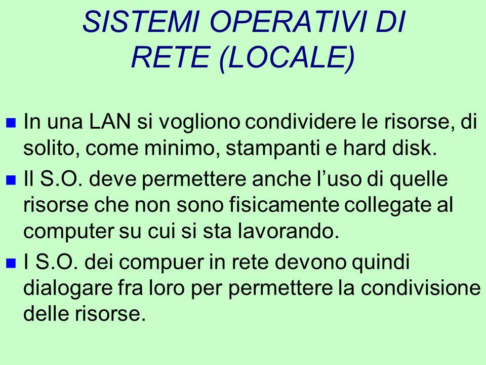 SISTEMI OPERATIVI DI RETE (LOCALE) n In una LAN si vogliono condividere le risorse, di solito, come minimo, stampanti e hard disk. n Il S.O. deve perm