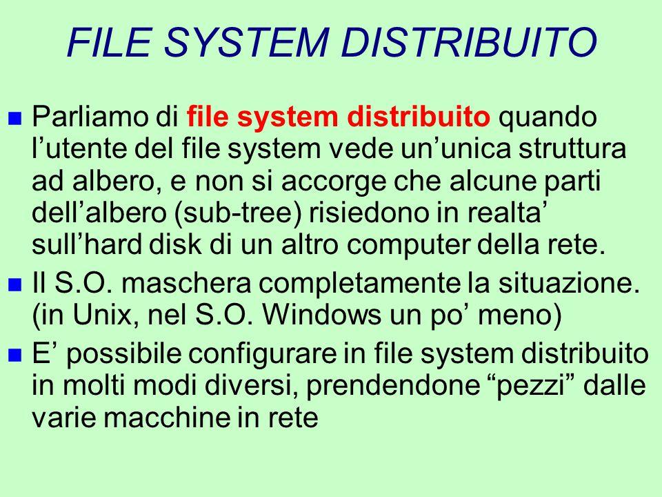 FILE SYSTEM DISTRIBUITO n Parliamo di file system distribuito quando l'utente del file system vede un'unica struttura ad albero, e non si accorge che