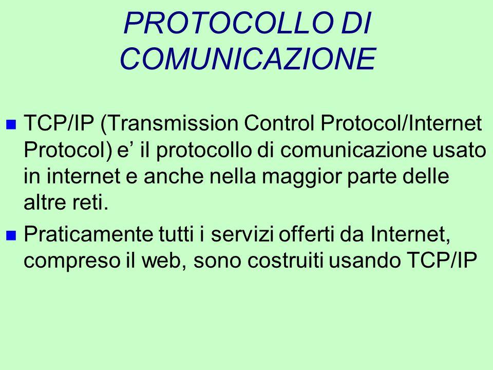 PROTOCOLLO DI COMUNICAZIONE n TCP/IP (Transmission Control Protocol/Internet Protocol) e' il protocollo di comunicazione usato in internet e anche nel