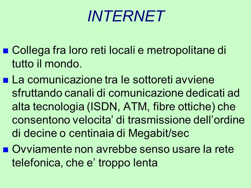 INTERNET n Collega fra loro reti locali e metropolitane di tutto il mondo. n La comunicazione tra le sottoreti avviene sfruttando canali di comunicazi