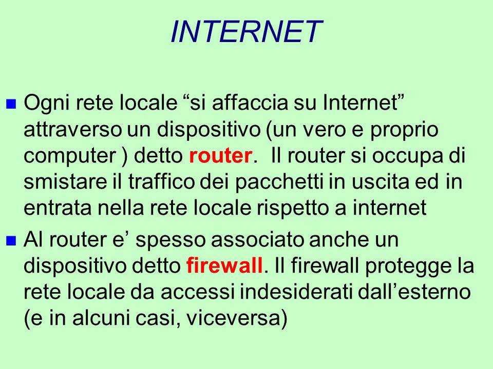 """INTERNET n Ogni rete locale """"si affaccia su Internet"""" attraverso un dispositivo (un vero e proprio computer ) detto router. Il router si occupa di smi"""
