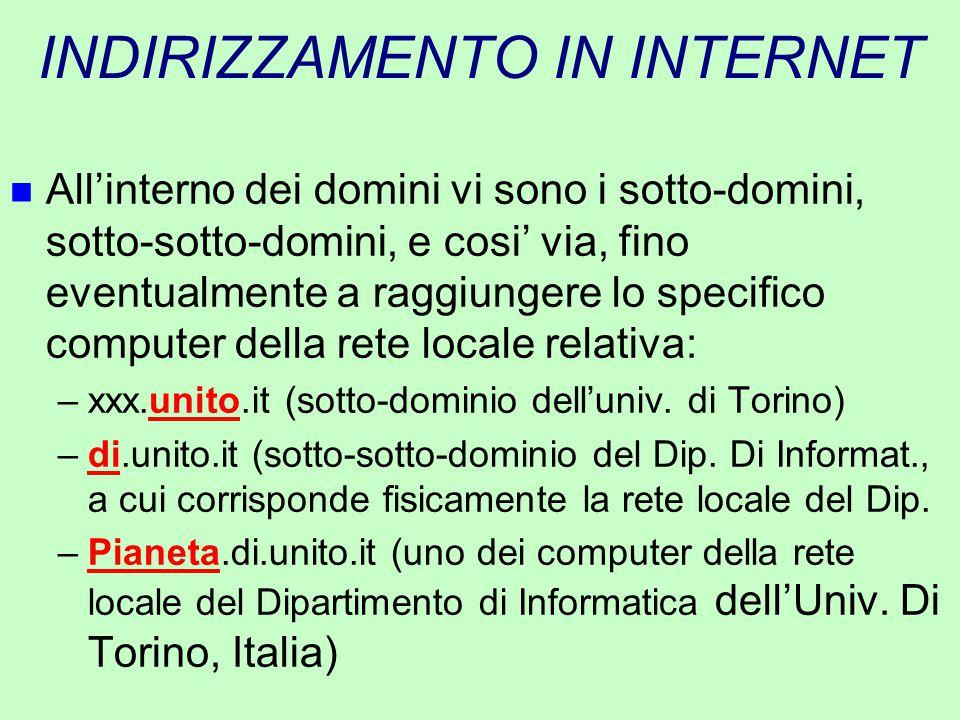 INDIRIZZAMENTO IN INTERNET n All'interno dei domini vi sono i sotto-domini, sotto-sotto-domini, e cosi' via, fino eventualmente a raggiungere lo speci