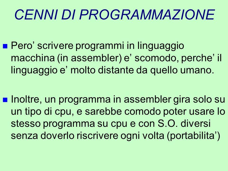 CENNI DI PROGRAMMAZIONE n Pero' scrivere programmi in linguaggio macchina (in assembler) e' scomodo, perche' il linguaggio e' molto distante da quello