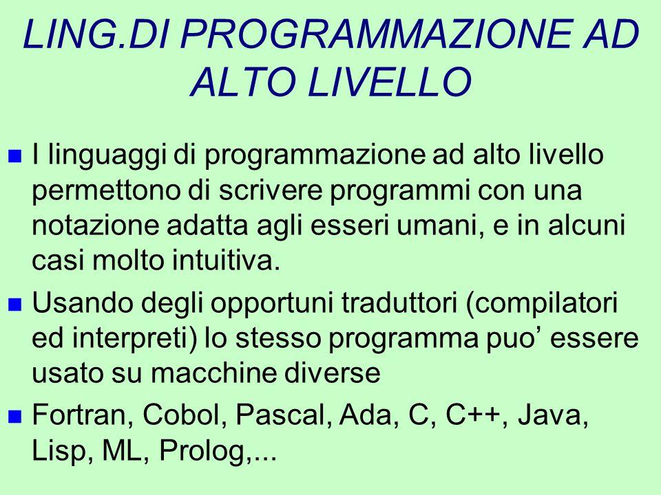 LING.DI PROGRAMMAZIONE AD ALTO LIVELLO n I linguaggi di programmazione ad alto livello permettono di scrivere programmi con una notazione adatta agli