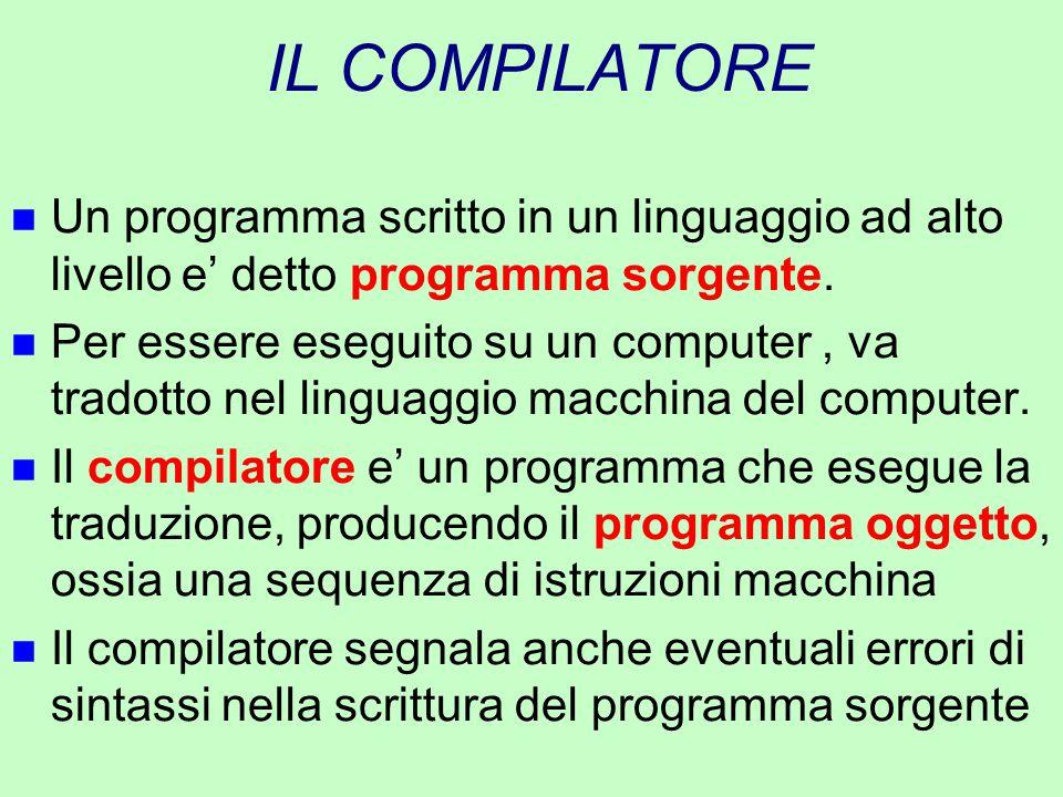IL COMPILATORE n Un programma scritto in un linguaggio ad alto livello e' detto programma sorgente. n Per essere eseguito su un computer, va tradotto