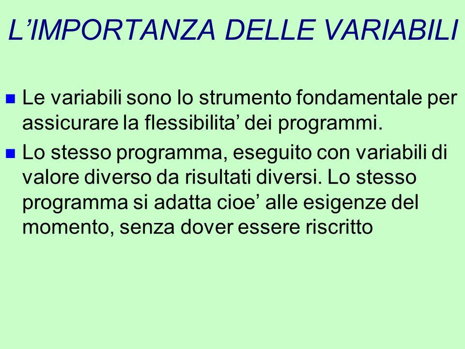 L'IMPORTANZA DELLE VARIABILI n Le variabili sono lo strumento fondamentale per assicurare la flessibilita' dei programmi. n Lo stesso programma, esegu