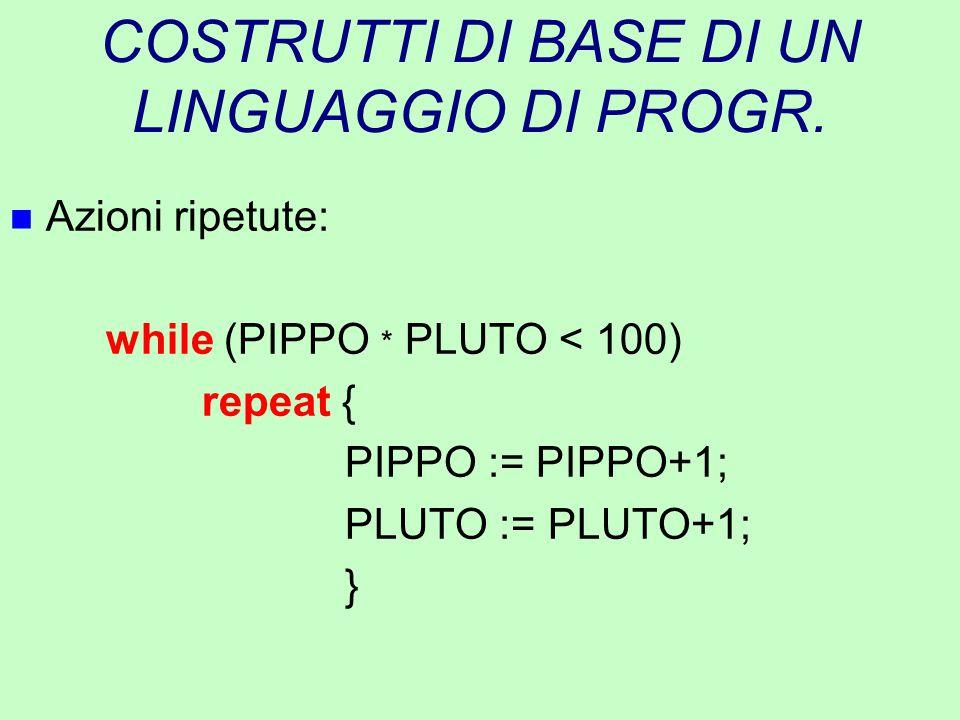 COSTRUTTI DI BASE DI UN LINGUAGGIO DI PROGR. n Azioni ripetute: while (PIPPO * PLUTO < 100) repeat { PIPPO := PIPPO+1; PLUTO := PLUTO+1; }