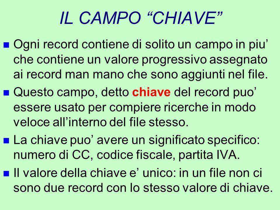 """IL CAMPO """"CHIAVE"""" n Ogni record contiene di solito un campo in piu' che contiene un valore progressivo assegnato ai record man mano che sono aggiunti"""