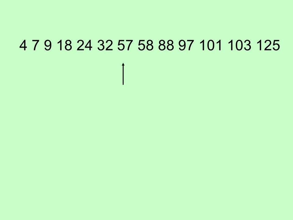 4 7 9 18 24 32 57 58 88 97 101 103 125
