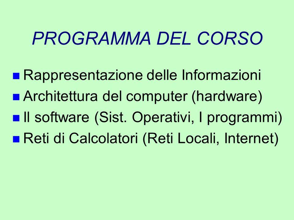 PROGRAMMA DEL CORSO n Rappresentazione delle Informazioni n Architettura del computer (hardware) n Il software (Sist. Operativi, I programmi) n Reti d