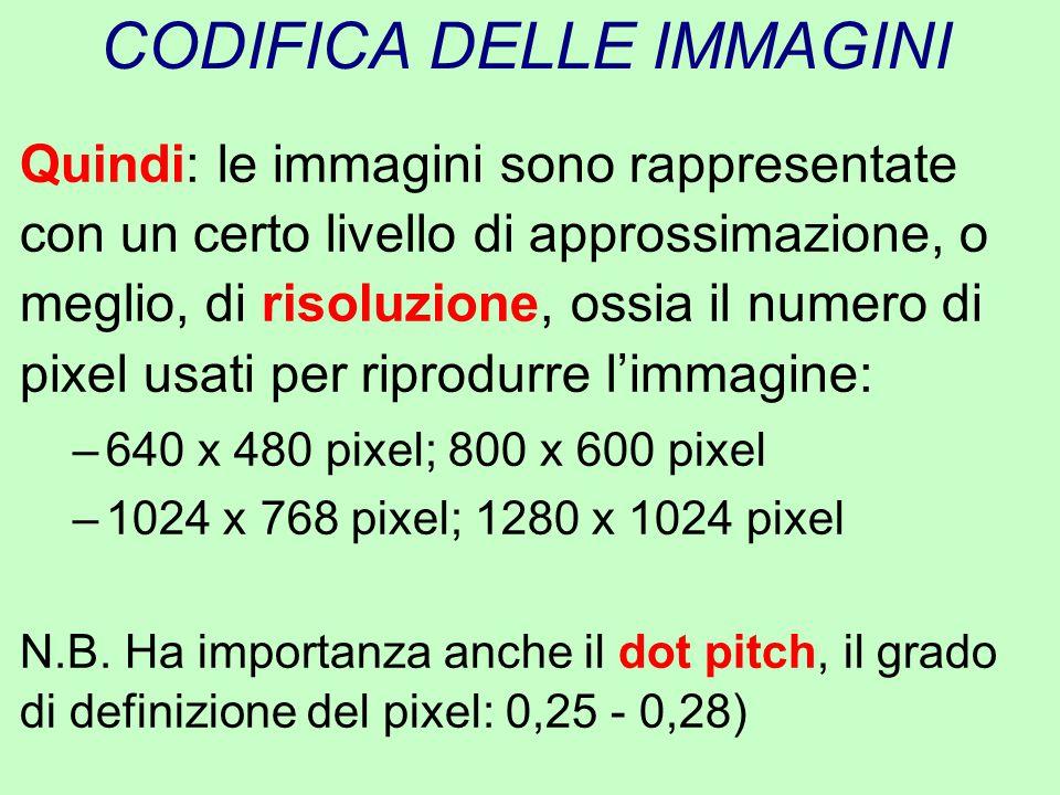 CODIFICA DELLE IMMAGINI Quindi: le immagini sono rappresentate con un certo livello di approssimazione, o meglio, di risoluzione, ossia il numero di p