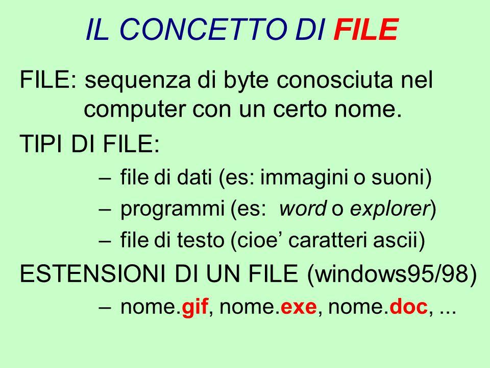 IL CONCETTO DI FILE FILE: sequenza di byte conosciuta nel computer con un certo nome. TIPI DI FILE: – file di dati (es: immagini o suoni) – programmi