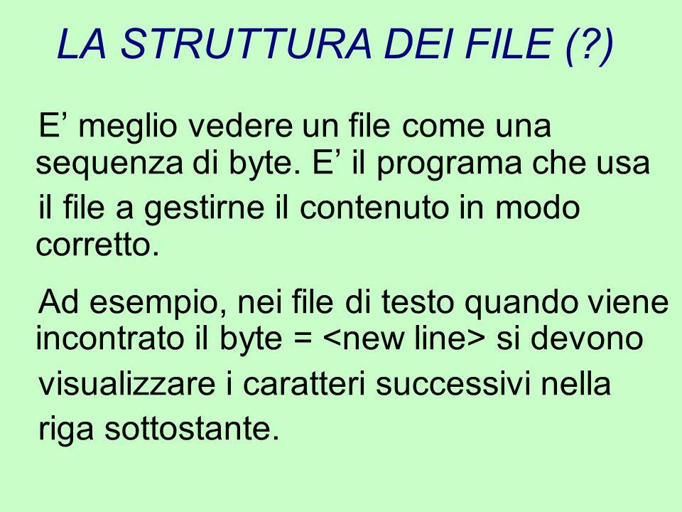 LA STRUTTURA DEI FILE (?) E' meglio vedere un file come una sequenza di byte. E' il programa che usa il file a gestirne il contenuto in modo corretto.