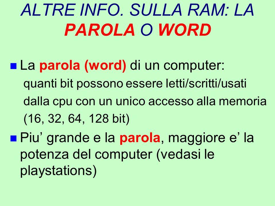ALTRE INFO. SULLA RAM: LA PAROLA O WORD n La parola (word) di un computer: quanti bit possono essere letti/scritti/usati dalla cpu con un unico access