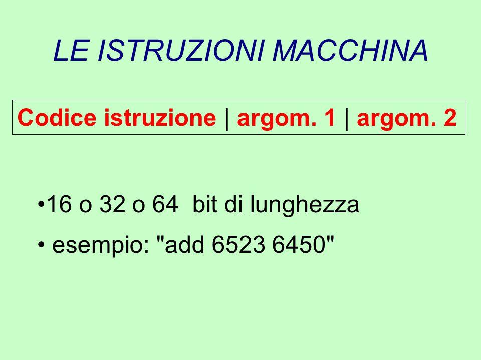 LE ISTRUZIONI MACCHINA Codice istruzione | argom. 1 | argom. 2 16 o 32 o 64 bit di lunghezza esempio: