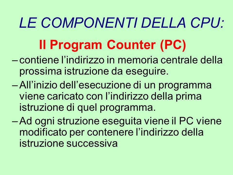 LE COMPONENTI DELLA CPU: Il Program Counter (PC) –contiene l'indirizzo in memoria centrale della prossima istruzione da eseguire. –All'inizio dell'ese