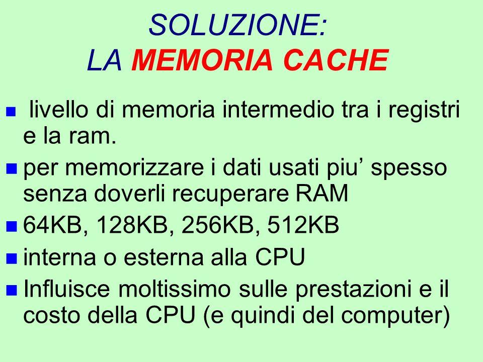 SOLUZIONE: LA MEMORIA CACHE n livello di memoria intermedio tra i registri e la ram. n per memorizzare i dati usati piu' spesso senza doverli recupera