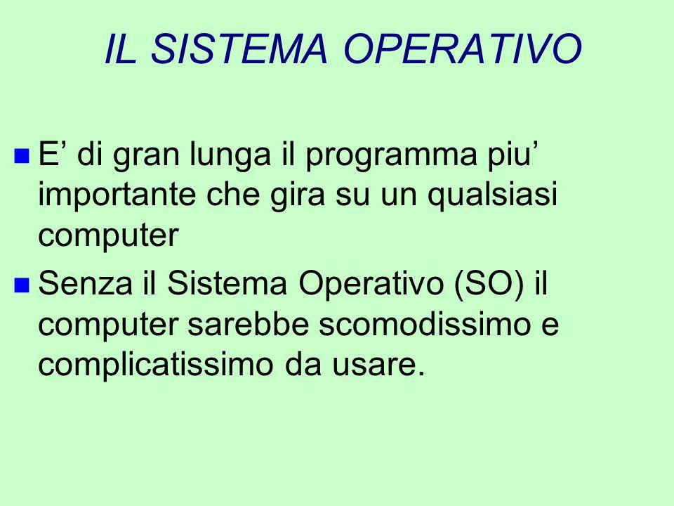 IL SISTEMA OPERATIVO n E' di gran lunga il programma piu' importante che gira su un qualsiasi computer n Senza il Sistema Operativo (SO) il computer s