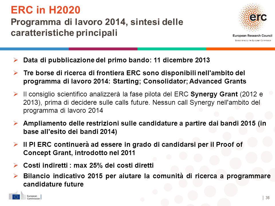 Established by the European Commission │ 38  Data di pubblicazione del primo bando: 11 dicembre 2013  Tre borse di ricerca di frontiera ERC sono dis