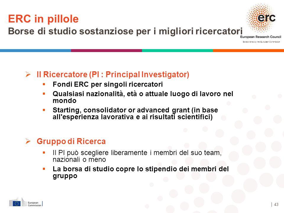 Established by the European Commission │ 43  Il Ricercatore (PI : Principal Investigator)  Fondi ERC per singoli ricercatori  Qualsiasi nazionalità