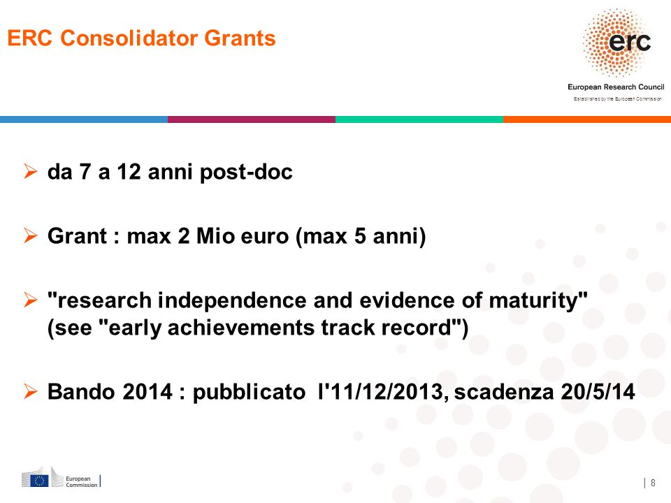 Established by the European Commission │ 29 Italy at ERC ERC grant distribution to countries of HI ERC StG, CoG and AdG calls 2007-2013 *) Host institution refers to the organisation with which the first grant agreement was signed