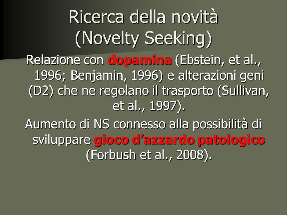 Ricerca della novità (Novelty Seeking) Relazione con dopamina (Ebstein, et al., 1996; Benjamin, 1996) e alterazioni geni (D2) che ne regolano il trasporto (Sullivan, et al., 1997).