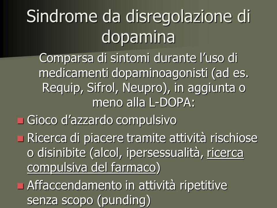 Sindrome da disregolazione di dopamina Comparsa di sintomi durante l'uso di medicamenti dopaminoagonisti (ad es.